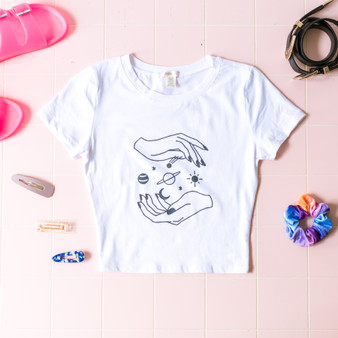 -White -Black Graphic -Short Sleeve -Fitted -Crop -T-Shirt  RT32675 TEE SPCE
