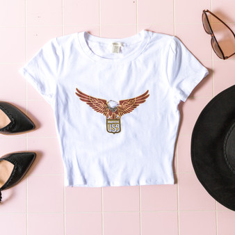 -White -Eagle Graphic -Made in USA -Short Sleeve -Fitted -Crop -T-Shirt  RT32675 TEE EAGL