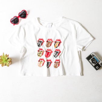 -White -Lips Graphic -Short Sleeve -Loose Fit -Crop -T-Shirt  BW4073 WHT PATLIP