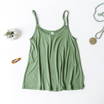 -Green -Flowy -Spaghetti Straps -Adjustable Straps -Loose Fit -Tank -Comes in 4 Colors  Material: 95% Polyester 5% Spandex  MD1001R TANK OLV