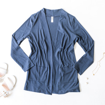 -Navy -Ribbed -Pockets -Long Sleeve -Cardigan -Comes in 2 Colors  Material: 96% Polyester 4% Spandex  T2617R CARDI NVY
