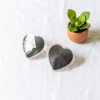 -Periwinkle Frames -Black Lenses -Oversize -Heart -Sunglasses -Dark Lens