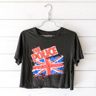 "-Black -The Police Graphic -Crew Neck -Short Sleeve -Cropped -T-Shirt  Size XL  Material: 100% Cotton  Clothing Measurements: Bust: 20"" Length: 17"" Sleeve Length: 7.5"""