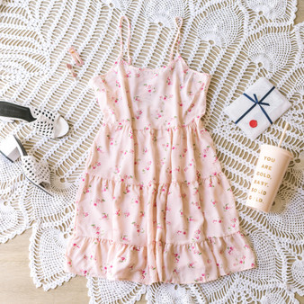 -Soft Pink -Floral Print -Ruffles -Layered -Spaghetti Straps -Adjustable Straps -Lace Up Back -Ties in Back -Unlined -Comes in 4 Patterns -Dress  Material: 100% Polyester  WD39011P DRESS PNKF