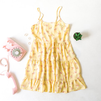 -Yellow -Floral Print -Ruffles -Layered -Spaghetti Straps -Adjustable Straps -Lace Up Back -Ties in Back -Unlined -Comes in 4 Patterns -Dress  Material: 100% Polyester  WD39011P DRESS YELF