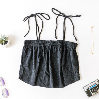 -Black -Eyelet Pattern -Tie Straps -Smocked -Unlined -Comes in 4 Colors -Tank  Material: 96% Polyester 4% Spandex  JC39314 TANK BLK