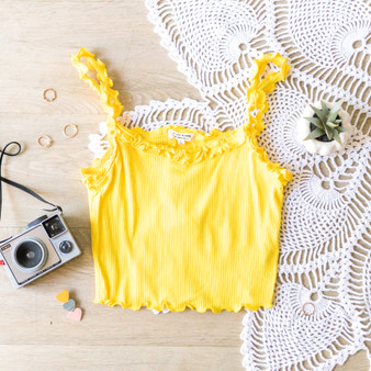 -Yellow -Ruffles -Ribbed -Unlined -Fabric Stretches -Comes in 6 Colors -Tank  Material: 55% Cotton 35% Rayon 10% Spandex  RK39115 CROP YEL