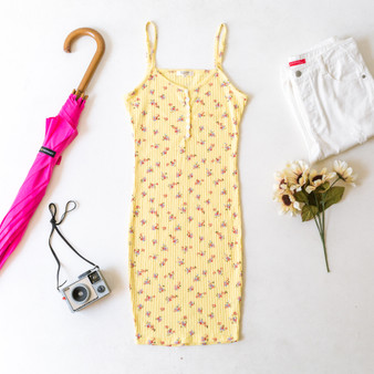 -Yellow -Floral Print -Pointelle -Buttons -V-Neck -Adjustable Straps -Comes in 4 Colors -Fabric Stretches -Unlined -Midi -Dress  Model is Wearing Size Small  Material: 60% Cotton 40% Rayon  JD38082P DRESS YEL
