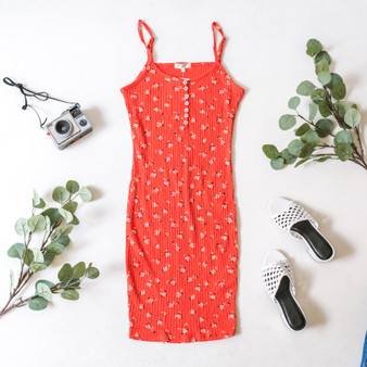 -Red -Floral Print -Pointelle -Buttons -V-Neck -Adjustable Straps -Comes in 4 Colors -Fabric Stretches -Unlined -Midi -Dress  Material: 60% Cotton 40% Rayon  JD38082P DRESS RED