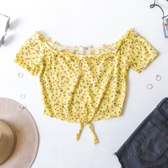 -Yellow -Floral Print -Waffle Fabric -Lettuce Edge Trim -Front Tie -Fabric Stretches -Comes in 3 Colors -Top  Material: 60% Cotton 35% Rayon 5% Spandex  JT39321P CROP YELF