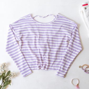 -White -Lilac Stripes -Ribbed -V-Neck -Long Sleeve -Open Back -Twist Knot -Sweater  Model is Wearing Size Small  Material: 76% Rayon 21% Polyester 13% Spandex  RT38508LS TOP RWS