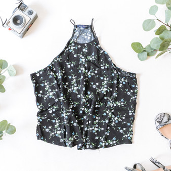-Black -Floral Print -High Neck -Bungee Straps -Fabric Does Not Stretch -Comes in 2 Colors -Unlined -Tank  Material: 100% Rayon  WC38114BP TANK BLKF
