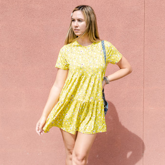-Yellow -Floral Print -Crew Neck -Short Sleeve -Fabric Stretches -Comes in 3 Colors -Unlined -Dress  Model is Wearing Size Small  Material: 92% Polyester 8% Spandex  BD2902 DRESS YEL