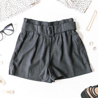 -Black -Pockets -Belt -Belt Loops -Elastic Waist -High-Waist -Shorts -Fabric Does Not Stretch  Material: 55% Linen 45% Rayon   94871 SHORT BLK
