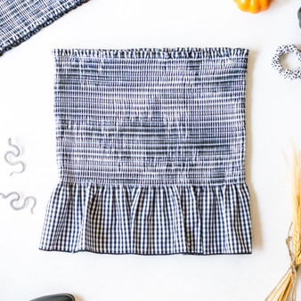-Black and White -Gingham -Smocked -Ruffle -Unlined -Comes in 3 Colors -Fabric Stretches -Skirt -Set  Model is Wearing Size  Material: 50% Cotton 50% Polyester  SW905 SET SKIRT BLK