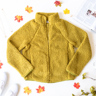 -Chartreuse  -Collar -Zipper -Pockets -Unlined -Fabric Does Not Stretch -Sherpa -Jacket  Model is Wearing Size Medium  Material: 100% Polyester  DZ19H057 JKT GRN