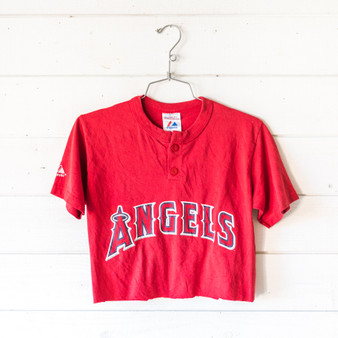 """-Red -Crew Neck -V-Neck -Buttons -Short Sleeve -Cropped -T-Shirt  Size Child Large  Material: 50% Cotton 50% Polyester  Clothing Measurements: Bust: 17"""" Length: 17"""" Sleeve Length: 7.5"""""""