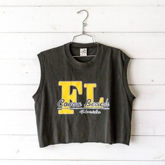 "-Cocoa Beach, Florida graphic -Crew neck -Sleeveless -Black -Cropped  Size: Large  Material: 100% Cotton  Clothing Measurements Bust: 20"" Length: 18.5"" Strap Length: 7"""