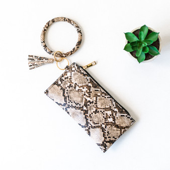 -Brown -Snake Print -Gold Zipper -Round Wristlet -Comes in 2 Colors