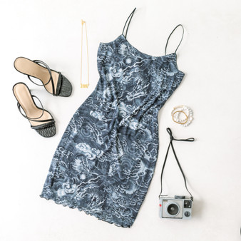 -Navy -Dragon Print -Mesh -Lined -Bungee Straps -Lettuce Edge -Mini -Dress  Model is Wearing Size Small  Material: 93% Polyester 7% Spandex  D2707 DRESS DGON
