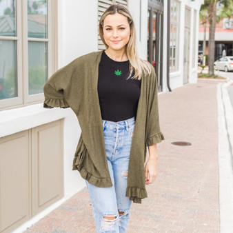 -Olive Green -Ruffled Sleeves and Hem -Open Front -Half Sleeve -Cardigan -Comes in 4 colors  Model is Wearing Size Small  Material: 80% Polyester 15% Rayon 5% Spandex  RUFFLED CARDI GRN