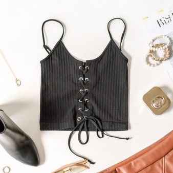-Black -Spaghetti Straps -Adjustable Straps -Scoop Neck -Lace up detail -Fabric Stretches -Cropped -Top -Ribbed -Comes in 2 Colors  Material: 92% Nylon 8% Spandex  616 TANK BLKLU