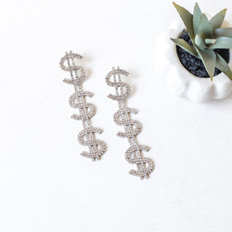 -Silver -Rhinestones -Dollar Sign -Dangle -Earring