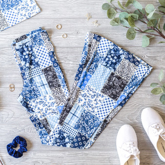 -Blue -Patchwork Print -Elastic Waist -Bell Bottoms -Unlined -Set -Pants   Model is Wearing Size Small  Material: 95% Polyester 5% Spandex  P2424 PANT BPAT