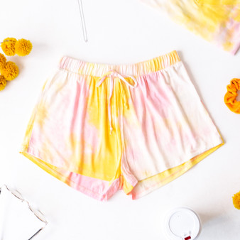 -Pink and Yellow tie-dye -Elastic waistband -Drawstring -Shorts -Set  Model is Wearing Size Large  Material: 96% Rayon 4% Spandex  GT4182 SHORT PTD