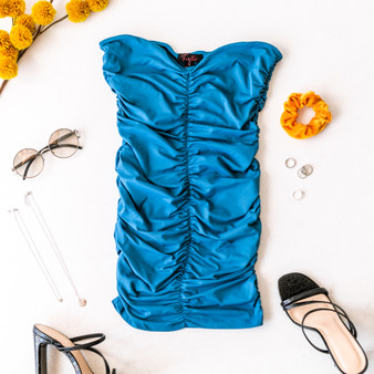-Blue -Strapless -Ruched -Cinching -Fabric Stretches -Comes in 4 Colors -Unlined -Mini -Dress  Model is Wearing Size Small  Material: 85% Polyester 15% Spandex  DZ20H464 DRESS BLU
