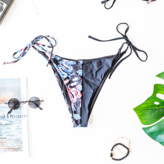 -Black -Dragon Print -Cheeky -High-Rise -Ties -Lined -Swim -Set -Bottoms  Model is Wearing Size Small  Material: 82% Polyester | 18% Spandex  SWIM BOT PATCH