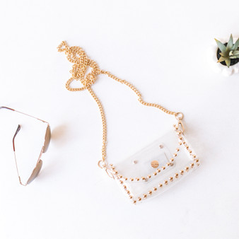 -Clear -Gold Studs -Chainlink Strap -Removable Strap -Snap Closure