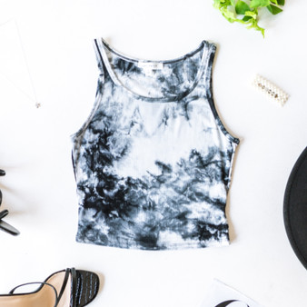 -Black -Tie-Dye -Ribbed -Eraser Back -Crop -Tank -Fabric Stretches -Unlined -Comes in 3 Colors  Model is Wearing Size Medium  Material: 93% Rayon | 7% Spandex  T8502B TANK BLKTD