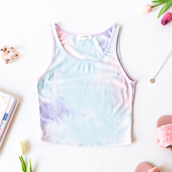-Pastel -Tie-Dye -Ribbed -Eraser Back -Crop -Tank -Fabric Stretches -Unlined -Comes in 3 Colors  Model is Wearing Size Medium  Material: 93% Rayon | 7% Spandex  T8502B TANK PRPTD