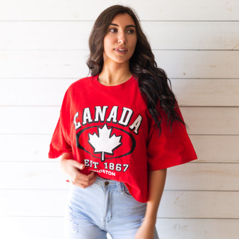 "-Red -Canada Graphic -Crew Neck -Cropped -Short Sleeve -T-Shirt  Size 2XXL  Material: 100% Cotton  Clothing Measurements: Bust: 24"" Length: 20"" Sleeve Length: 8"""
