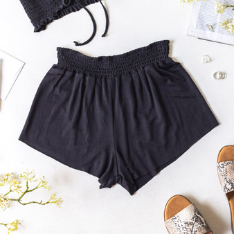 -Black -Smocked Waist -High Waist -Fabric Stretches -Unlined -Comes in 6 Colors -Set -Shorts  Model is Wearing Size Small  Material: 100% Rayon  PJ701HRS SHORT BLK