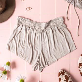 -Sand -Smocked Waist -High Waist -Fabric Stretches -Unlined -Comes in 6 Colors -Set -Shorts  Model is Wearing Size Small  Material: 100% Rayon  PJ701HRS SHORT TAN