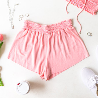 -Pink -Smocked Waist -High Waist -Fabric Stretches -Unlined -Comes in 6 Colors -Set -Shorts  Model is Wearing Size Small  Material: 100% Rayon  PJ701HRS SHORT PNK
