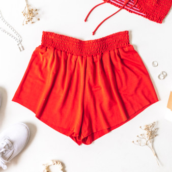 -Red -Smocked Waist -High Waist -Fabric Stretches -Unlined -Comes in 6 Colors -Set -Shorts  Model is Wearing Size Small  Material: 100% Rayon  PJ701HRS SHORT RED