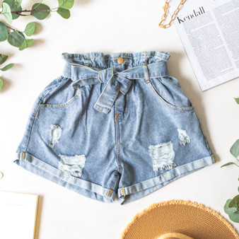 -Light Wash -Denim -Distressed -Cuffed -High-Waist -Zipper -Button -Belt Loops -Fabric Does Not Stretch -Comes in 3 Washes -Shorts  Model is Wearing Size  Small  Material: 100% Cotton  HF21E785 SHORT DNM