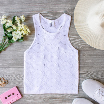 -White -Racer Back -Sleeveless -Unlined -Crochet Style -Fabric Stretches -Comes in 4 Colors -Tank  Material: 92% Nylon | 8% Spandex  979 TANK WHT