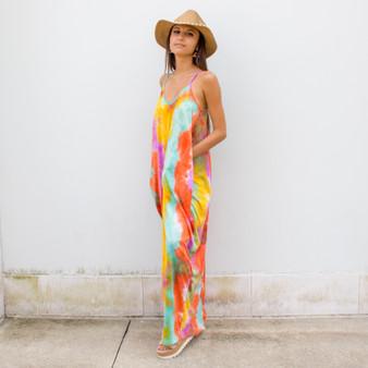 -Orange Multi Color -Tye Dye Print -V-Neck -Spaghetti Straps -Adjustable Straps -Pockets -Maxi -Dress -Comes in 3 Colors  Material: 100% Polyester  HF21E116 MAXI ORGTD