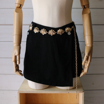 -Gold -Seashell Accents -Chainlink -Adjustable -Fashion Belt  Length: 27-47""