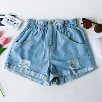 -High Wasted -Elastic Waistband -Light Wash Denim Color -Yellow Detail Stitching  -Distressed -Cuffed Bottom -Pockets -Zipper -Button -Belt Loops -Comes in 3 Washes -Shorts  Material: 100% Cotton  HF21F160 SHORT DNM