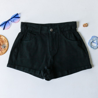 -High Wasted -Elastic Waistband -Black Denim Color -Cuffed Bottom -Pockets -Zipper -Button -Belt Loops -Comes in 3 Washes -Shorts  Material: 100% Cotton  HF21E914 SHORT BLK