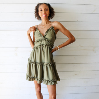 -Olive Green Color -Ruffle Trim on Front and Back -V-Neck -Spaghetti Straps -Woven -Adjustable Straps -Zipper Back -Fabric Stretches -Dress  Materials 100% Polyester  ID4772 DRESS OLV