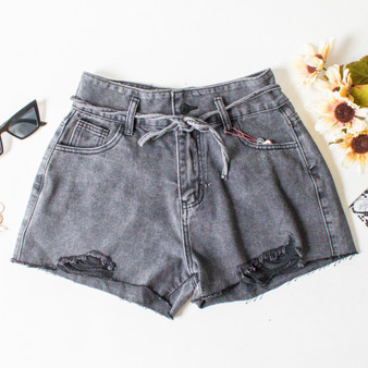 -High Wasted -Ties at Waist -Dark Wash Denim (Black) -Distressed -Pockets -Zipper -Button -Belt Loops -Shorts  Material: 78.7% Cotton | 13.2% Viscose | 8.1% Polyester   DBS0416 SHORT BLK