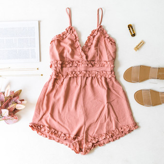 -Mauve -Ruffles -V-Neck -Zipper -Unlined -Fabric Does Not Stretch -Romper  Material: 100% Polyester  IP7881 ROMP RED