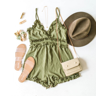 -Olive -Ruffles -V-Neck -Zipper -Unlined -Fabric Does Not Stretch -Romper  Material: 100% Polyester  IP7881 ROMP OLV
