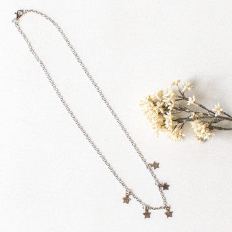 -Silver Chain -Star Charms -Long Chain Length -Clasp Closure -Necklace  0421 CHARM NECKLACE STARS